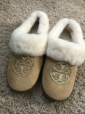 e3be1c498467 Tory Burch Royal Tan Gold Coley Moccassin Slippers Flats Size 6 Lamb Fur