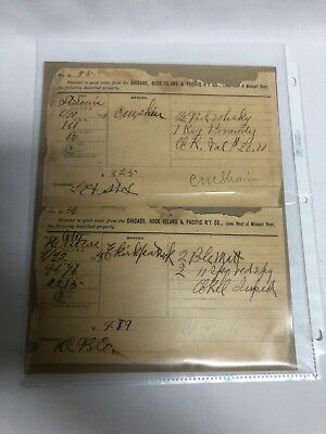 CHICAGO ROCK ISLAND & Pacific Railroad Co Consignment Transport Forms 1894