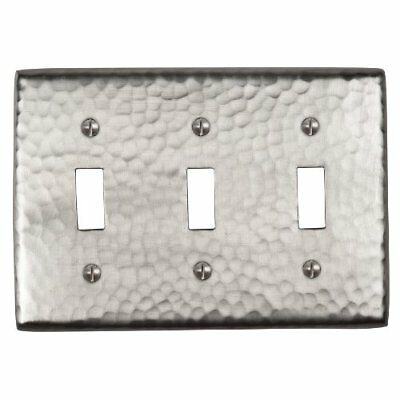 The Copper Factory CF127SN Solid Hammered Copper Triple Switch Plate, Satin Nick