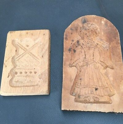 Two Vintage Dutch Wooden Cookie Moulds