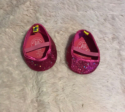 Build A Bear BAB Shoes Pink Heart Glitter LIKE NEW