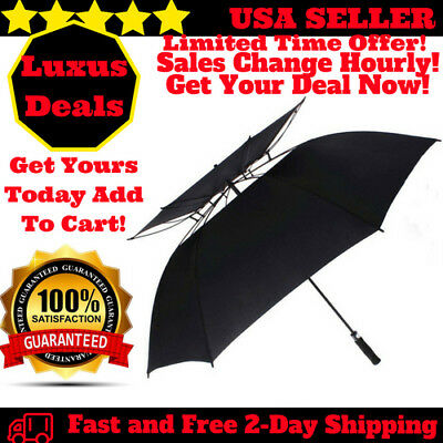 68 Inch Windproof Large Golf Umbrella Vented Double Canopy and Automatic Open