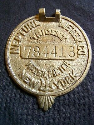 Vintage New York Numbered Neptune Trident Water Meter  Brass Cover