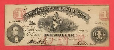 "1862 $1 RED Virginia ""US TREASURY NOTE"" LARGE SIZE Currency Choice AU!"