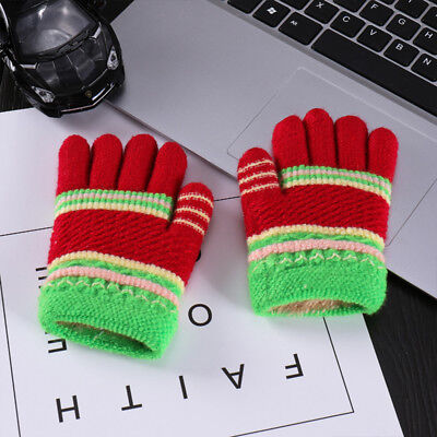 NEW Kids Thicker Universal Stripe Knitted Wool Gloves Winter 5-8T Random Color