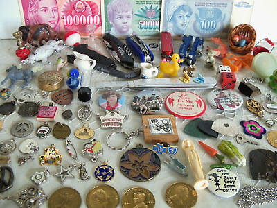 Vintage Junk Drawer Collectible $Foriegn  knives Charms Pin back Buttons Smalls