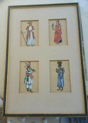 4 Antique Minature Indian Paintings On Mica Depicting Indian People. Framed