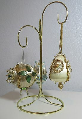 Vintage Handmade Victorian Beaded Sequin Christmas Ornaments Set of 3 EC