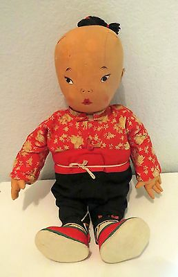 "BETTY CLEMO Chinese Embroidered Cloth Baby Doll Traditional Clothes 17.5"" Rare!"