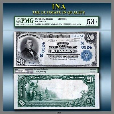 Illinois First NB of O'Fallon $20 PMG AU 53 NET Extremely Rare Finest Only