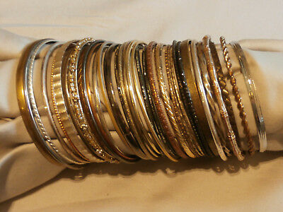 Big Lot of 35 Mixed Metal Bangle Bracelets Many Patterns Styles Stackable