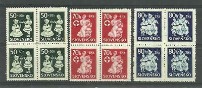 Slovakia 1943 Winter Relief Fund 50h, 70h, 80h Blocks of 4 MUH SG 98-100