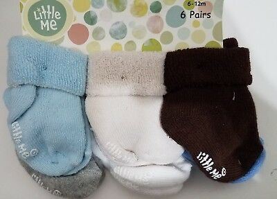 Little Me Solid Colored Baby Boy Socks 6 Pairs New Size 6-12 Months