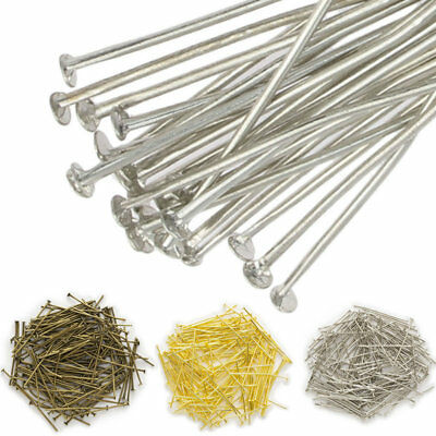 1000pcs Flat Head Pin Metal Electroplate Jewellery Findings Headpin 0.7mm Crafts