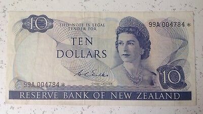 New Zealand Replacement Star $10 Wilks Banknote - 99A 004784* grade Fine
