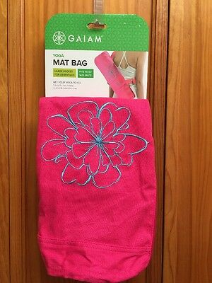 Gaiam Yoga Mat Bag Hot Pink With Embroidered Aqua Floral Design Cotton New
