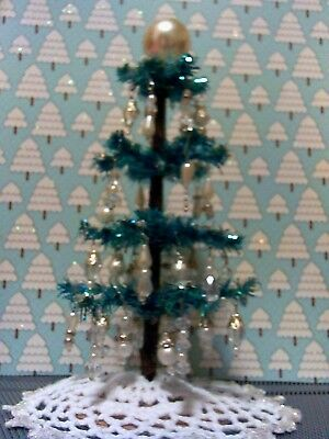 """71/4"""" Blue miniature dollhouse Christmas Tree decorated in  pearl & glass beads"""