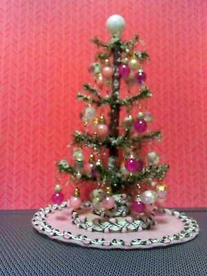 """6 3/4"""" miniature dollhouse Christmas Tree decorated in pink & white glass beads"""