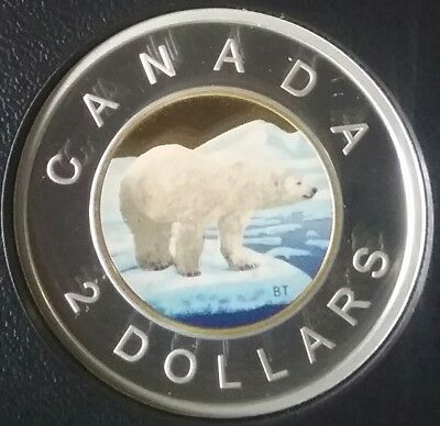 2018 $2 Toonie Proof Pure Silver Colour Coin Canada Polar Bear Classic DesignRCM