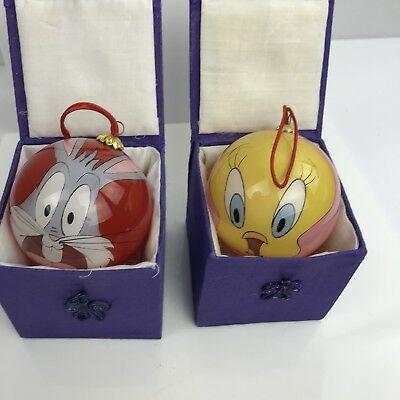 Christmas  Ornaments Glass Lot of 2 Looney Toons Bugs Bunny Tweety Bird Box