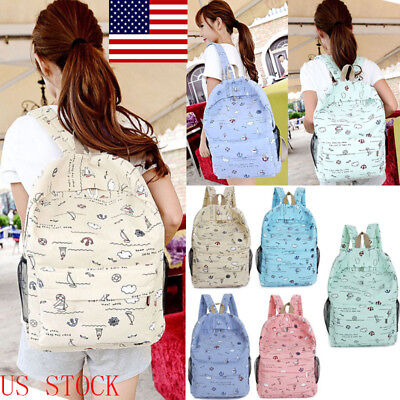 Flower Fashion Women Girls Backpacks Mini Rucksack Handbags School Bag US STOCK
