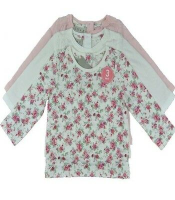 Ex Store Baby Girls 3 Pack Pink Cream Floral Flower Tops Age 3 6  9 12 18 24 Mth