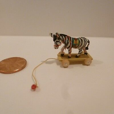 Miniature Pull Toy With Zebra     Signed