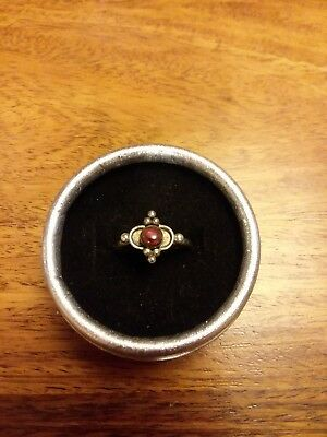 Antique Sterling Silver Ring with Round Shaped Red Stone - Size 7 1/2