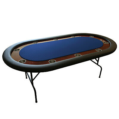 """The Ivey 82"""" Professional 10 Seater Blue Suited Speed Cloth Poker Table Premium"""
