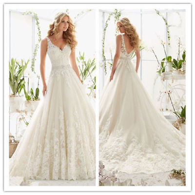 Stock Ivory White lace Wedding Dress evening formal ball Bridal Gown Size:6-16