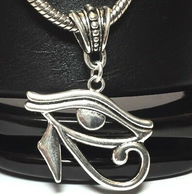 EYE OF HORUS_Pendant For Thick Chain or European Necklace_Egypt RA Symbol Silver