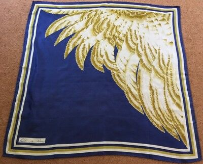 WEISS silk hand rolled edged scarf in blue, gold and white
