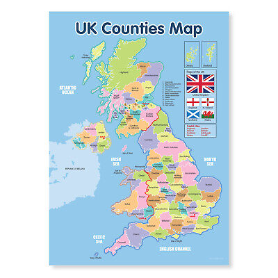A4 laminated NEW UK Counties Map Educational Poster