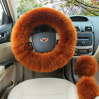 US Stock Long Soft Plush Fuzzy Steering Wheel Cover Champagne Wool Car Cover Set