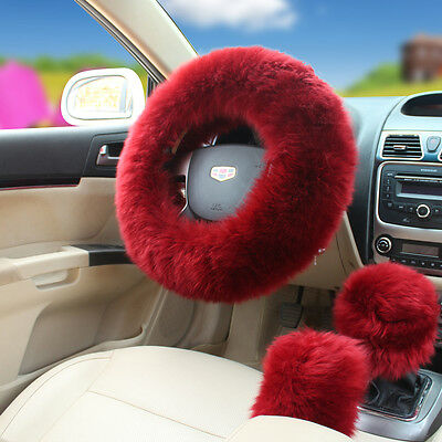 US Stock 3Pcs Australian Wool Auto Car Plush Fuzzy Steering Wheel Cover Wine Red