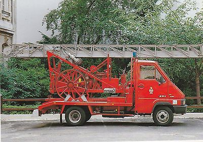 A Postcard showing a French Fire Service 18 Metre Motorised Ladder in Paris
