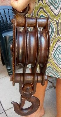 Vintage heavy duty cast-iron three wheel pulley - block and tackle