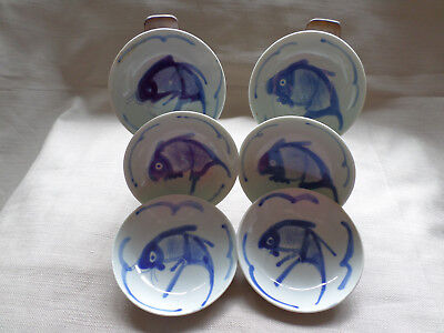6 x BLUE WHITE BOWLS CHINESE KOI FISH HAND PAINTED JAPANESE ORIENTAL