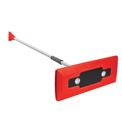 Snow Joe LED lighted 4-in-1 Snow Broom Ice Scraper (Red) | Certified Refurbished