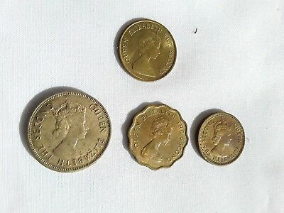 4 COINS HONG KONG QUEEN ELIZABETH 11  1960, 1970 and  1980s