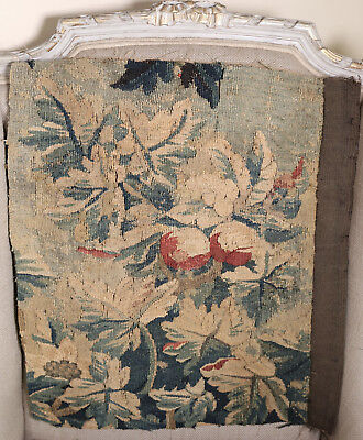 18th Century French Aubusson Verdure  Antique Tapestry Panel Fruit Flowers
