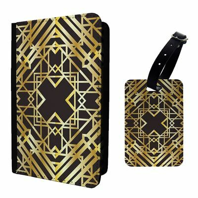 Art Deco Graphic Gold Tubed Art Luggage Tag &/OR Passport Holder - T1966