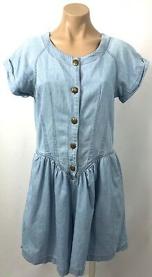 Vintage light DENiM cotton darted top BAGGY shorts short ROMPER play suit 10 12