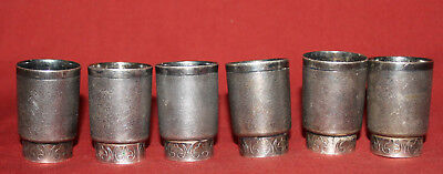 Vintage set of 6 small silver plated mugs cups
