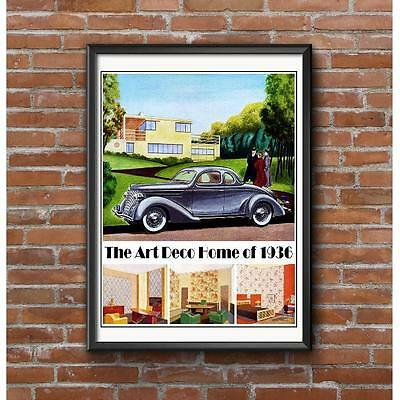 Art Deco Architecture 1930's Poster- Art Deco Home of 1936 Streamline Moderne