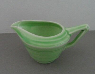Art Deco Vintage Banded Crown Ducal Small Green Jug - Made in England