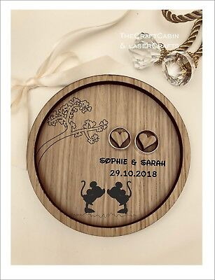 Wedding Ring Bearer Tray, Dish, Plate: Personalised Disney Mickey & Minnie Mouse