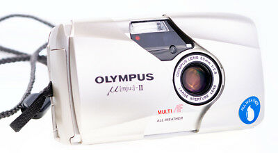 Olympus Mju II 35 mm f 2,8 Silber Point and Shot Camera Tested and Working
