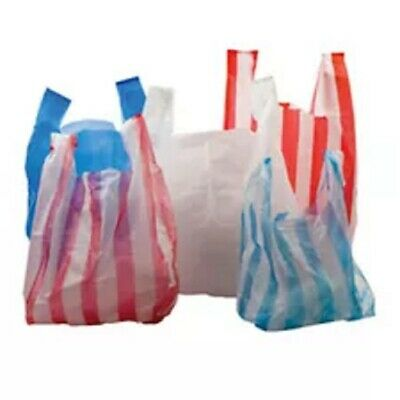 Plastic Vest Carrier Bags Blue/White /Red Candy Stripe Supermarket Shop Takeaway