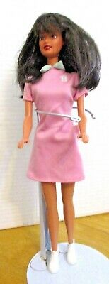Original Barbie Doll Black Hair Pink Overall And White Shoes
